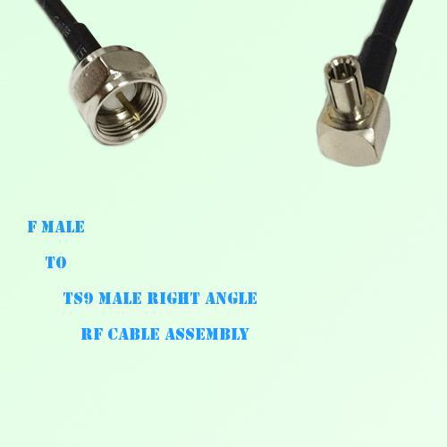 F Male to TS9 Male Right Angle RF Cable Assembly