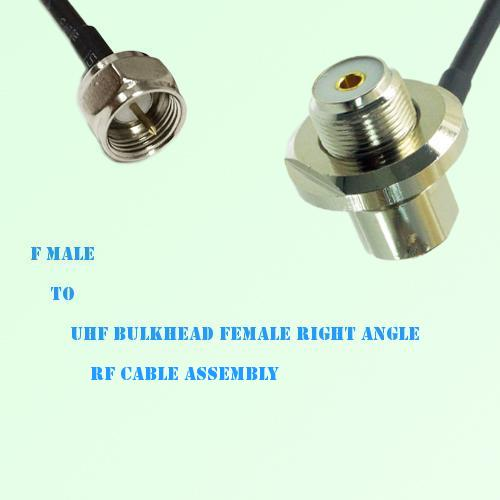 F Male to UHF Bulkhead Female Right Angle RF Cable Assembly