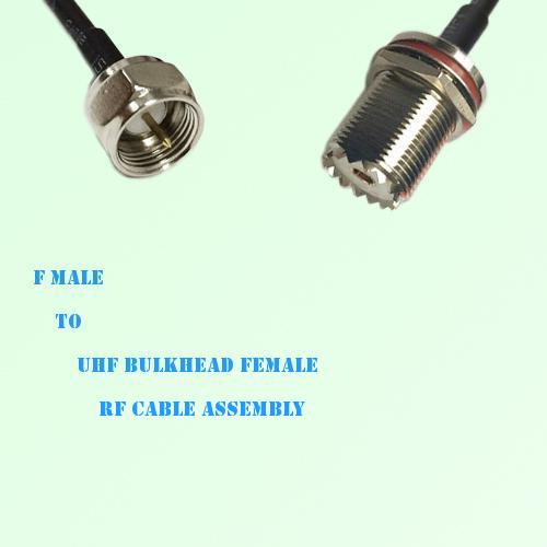 F Male to UHF Bulkhead Female RF Cable Assembly
