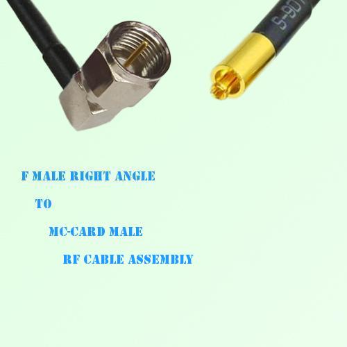 F Male Right Angle to MC-Card Male RF Cable Assembly