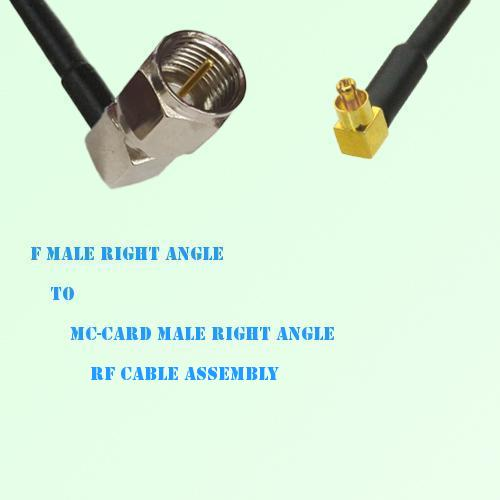 F Male Right Angle to MC-Card Male Right Angle RF Cable Assembly