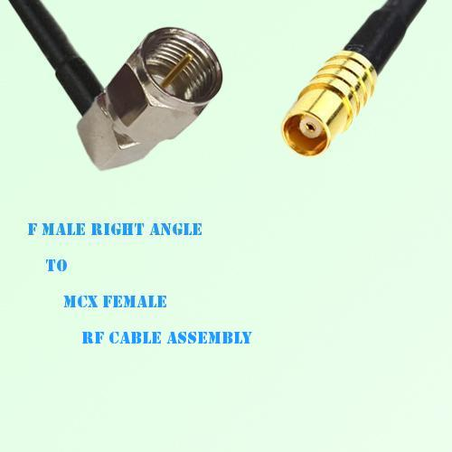 F Male Right Angle to MCX Female RF Cable Assembly