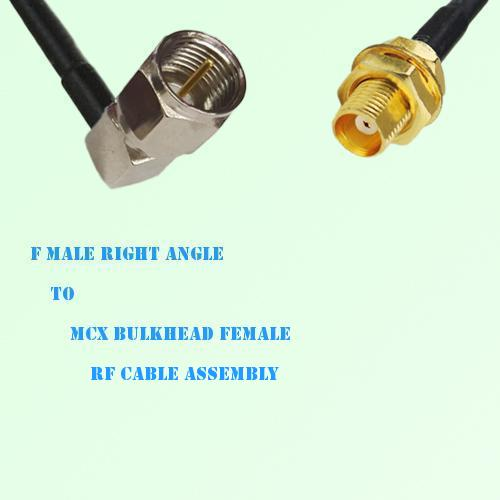F Male Right Angle to MCX Bulkhead Female RF Cable Assembly