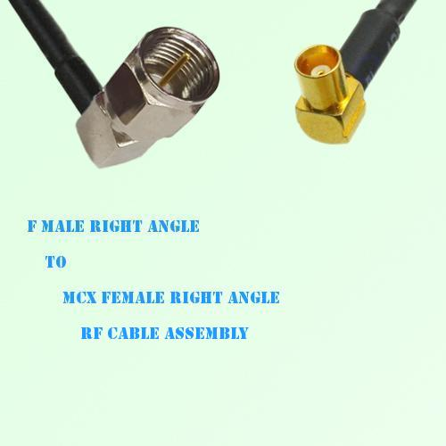 F Male Right Angle to MCX Female Right Angle RF Cable Assembly
