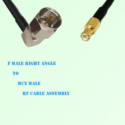 F Male Right Angle to MCX Male RF Cable Assembly
