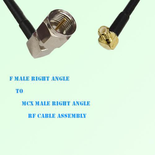F Male Right Angle to MCX Male Right Angle RF Cable Assembly