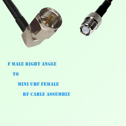 F Male Right Angle to Mini UHF Female RF Cable Assembly