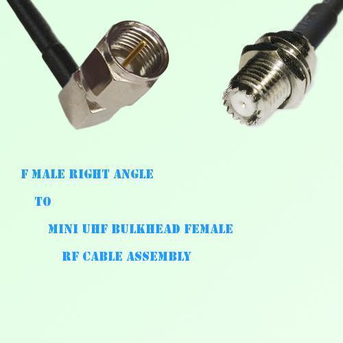 F Male Right Angle to Mini UHF Bulkhead Female RF Cable Assembly