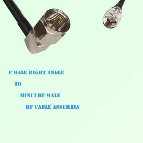 F Male Right Angle to Mini UHF Male RF Cable Assembly