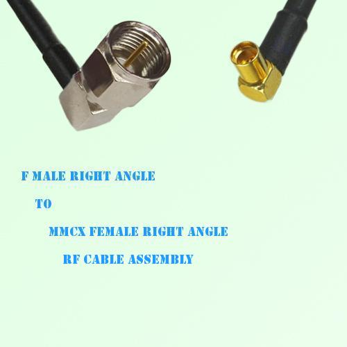 F Male Right Angle to MMCX Female Right Angle RF Cable Assembly
