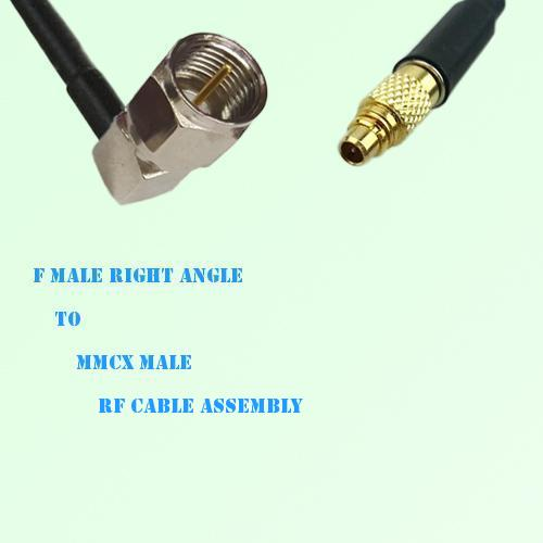 F Male Right Angle to MMCX Male RF Cable Assembly