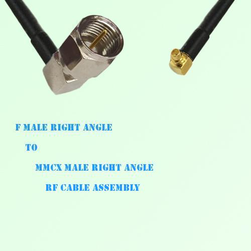 F Male Right Angle to MMCX Male Right Angle RF Cable Assembly