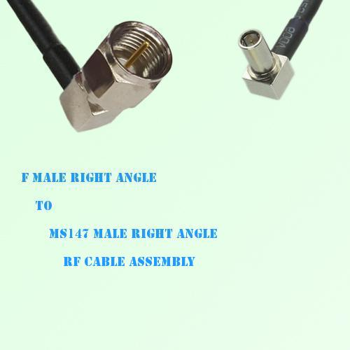 F Male Right Angle to MS147 Male Right Angle RF Cable Assembly