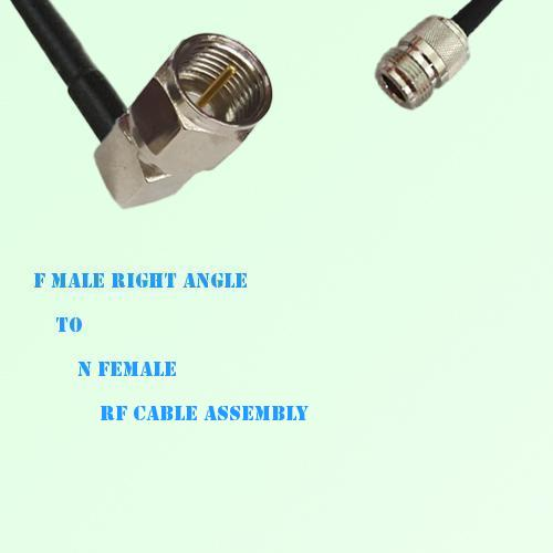 F Male Right Angle to N Female RF Cable Assembly