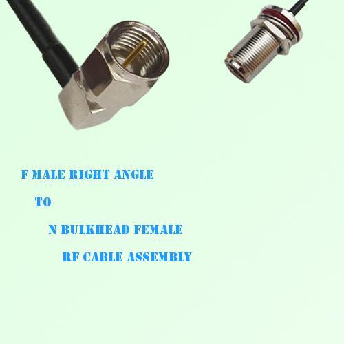 F Male Right Angle to N Bulkhead Female RF Cable Assembly