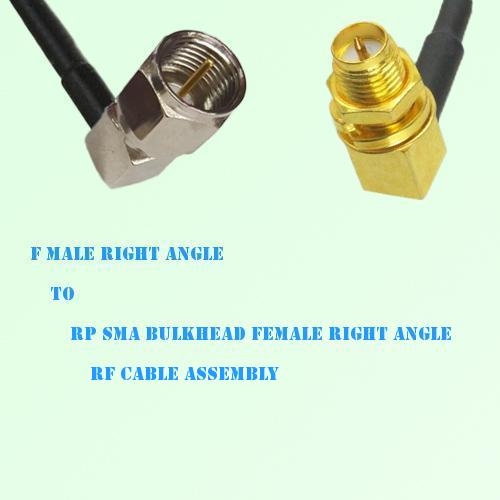 F Male R/A to RP SMA Bulkhead Female R/A RF Cable Assembly