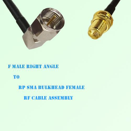 F Male Right Angle to RP SMA Bulkhead Female RF Cable Assembly