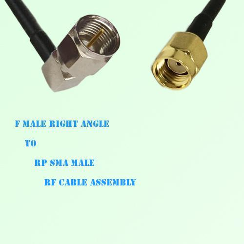 F Male Right Angle to RP SMA Male RF Cable Assembly
