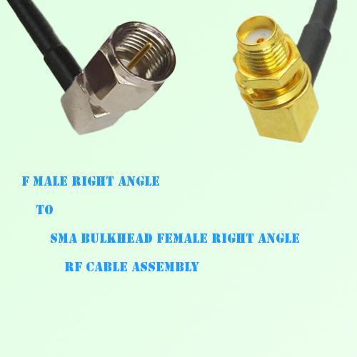F Male R/A to SMA Bulkhead Female R/A RF Cable Assembly