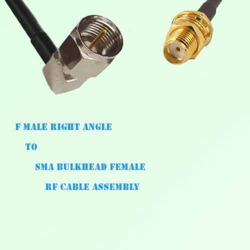 F Male Right Angle to SMA Bulkhead Female RF Cable Assembly