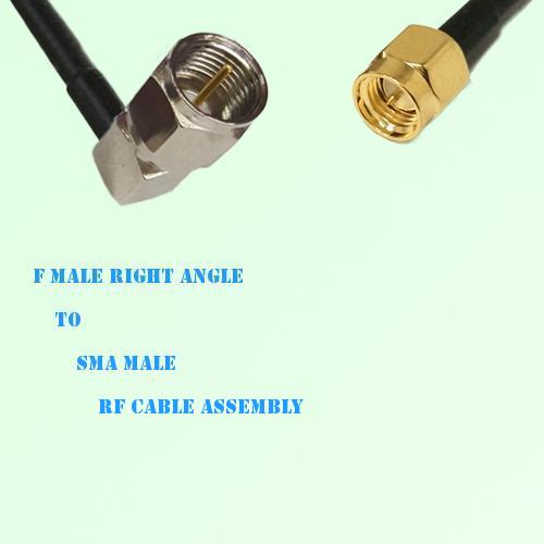 F Male Right Angle to SMA Male RF Cable Assembly