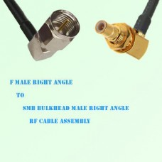 F Male Right Angle to SMB Bulkhead Male Right Angle RF Cable Assembly