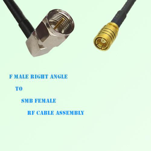 F Male Right Angle to SMB Female RF Cable Assembly