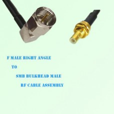 F Male Right Angle to SMB Bulkhead Male RF Cable Assembly
