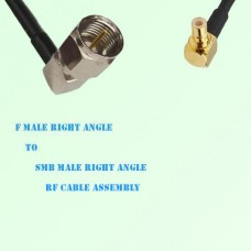 F Male Right Angle to SMB Male Right Angle RF Cable Assembly