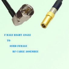 F Male Right Angle to SSMB Female RF Cable Assembly