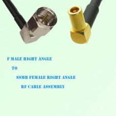 F Male Right Angle to SSMB Female Right Angle RF Cable Assembly