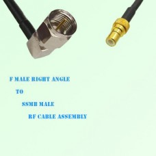 F Male Right Angle to SSMB Male RF Cable Assembly
