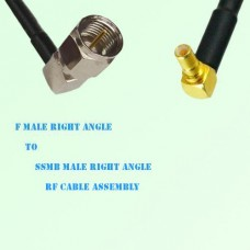 F Male Right Angle to SSMB Male Right Angle RF Cable Assembly