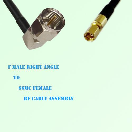 F Male Right Angle to SSMC Female RF Cable Assembly