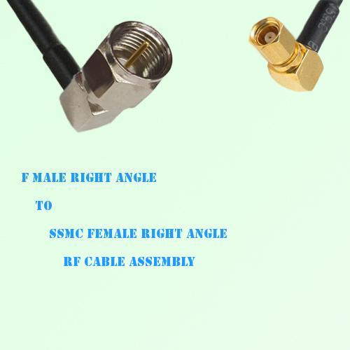 F Male Right Angle to SSMC Female Right Angle RF Cable Assembly