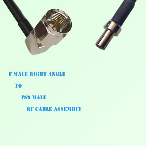 F Male Right Angle to TS9 Male RF Cable Assembly