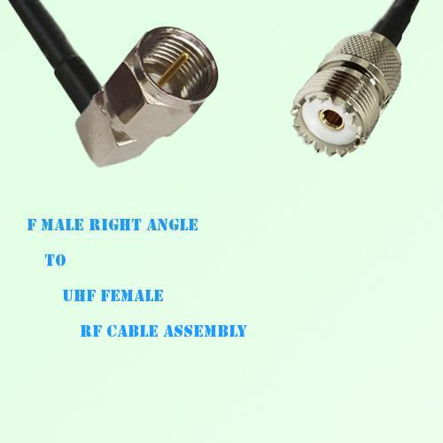 F Male Right Angle to UHF Female RF Cable Assembly