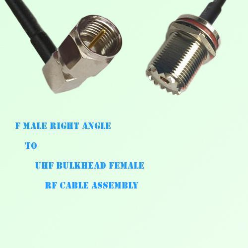 F Male Right Angle to UHF Bulkhead Female RF Cable Assembly