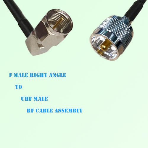 F Male Right Angle to UHF Male RF Cable Assembly