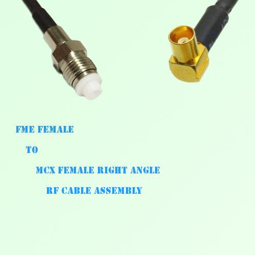 FME Female to MCX Female Right Angle RF Cable Assembly