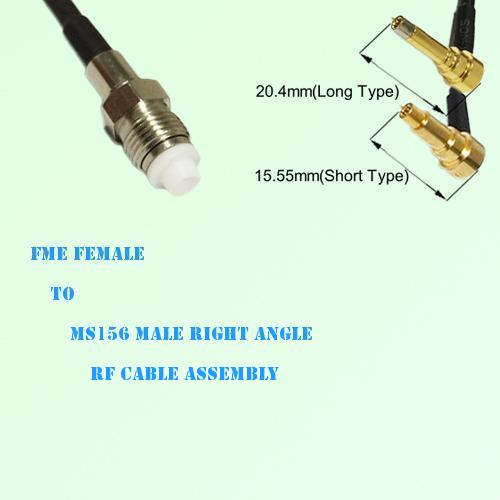 FME Female to MS156 Male Right Angle RF Cable Assembly