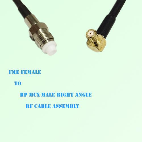 FME Female to RP MCX Male Right Angle RF Cable Assembly