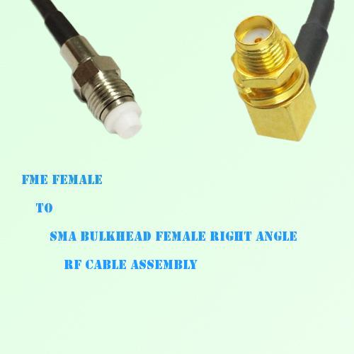 FME Female to SMA Bulkhead Female Right Angle RF Cable Assembly