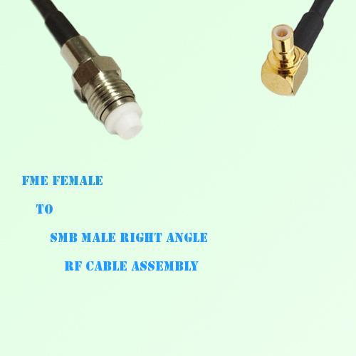 FME Female to SMB Male Right Angle RF Cable Assembly