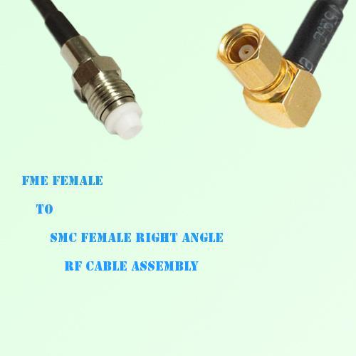FME Female to SMC Female Right Angle RF Cable Assembly
