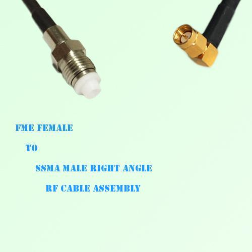 FME Female to SSMA Male Right Angle RF Cable Assembly