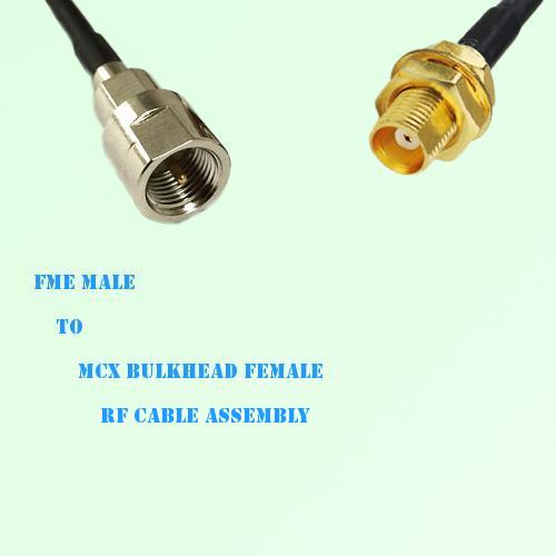 FME Male to MCX Bulkhead Female RF Cable Assembly