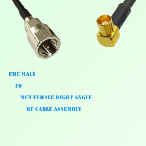 FME Male to MCX Female Right Angle RF Cable Assembly