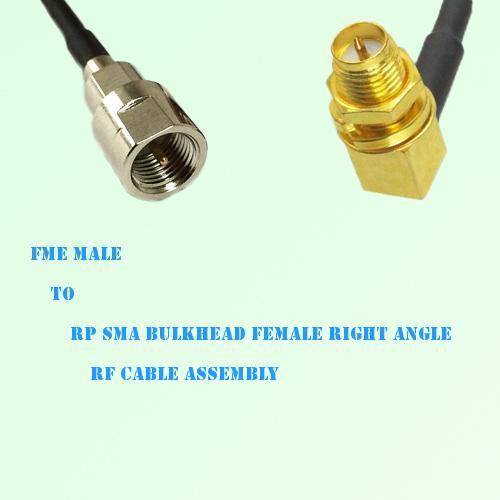 FME Male to RP SMA Bulkhead Female Right Angle RF Cable Assembly