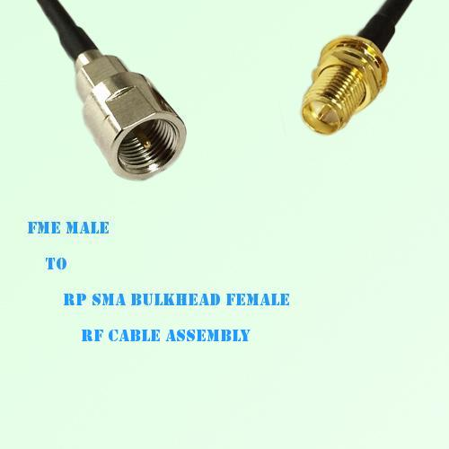 FME Male to RP SMA Bulkhead Female RF Cable Assembly